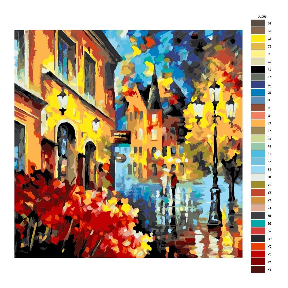 Návod pro malování podle čísel Evropské město