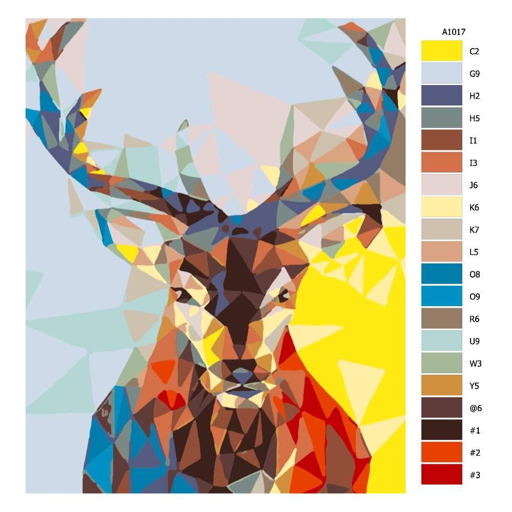 Návod pro malování podle čísel Pohled jelena