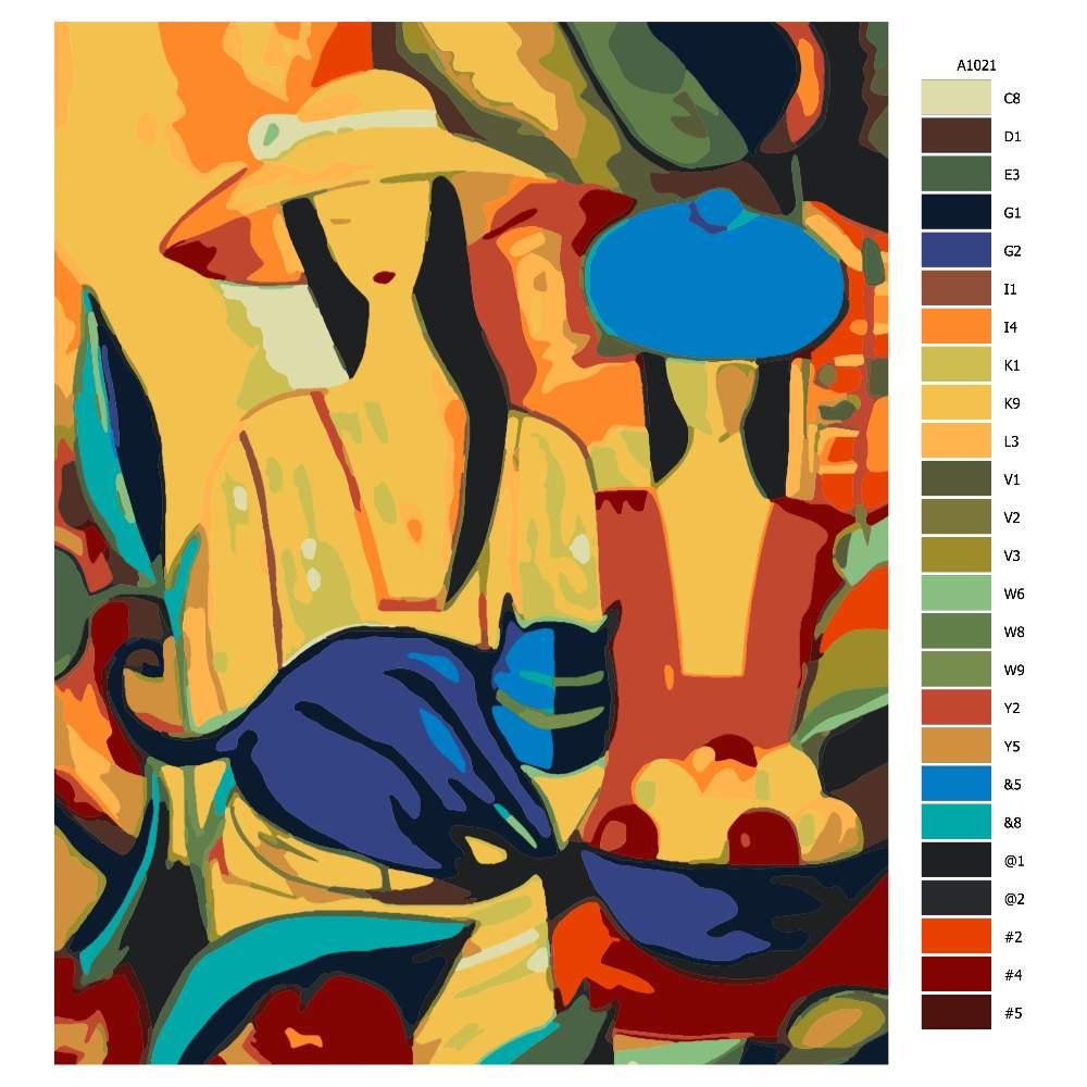 Návod pro malování podle čísel Pestrobarevné ženy
