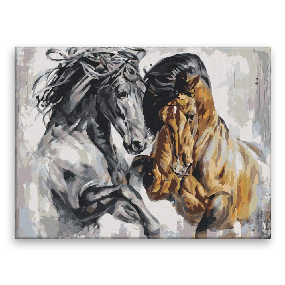 Malování podle čísel Hraví koně