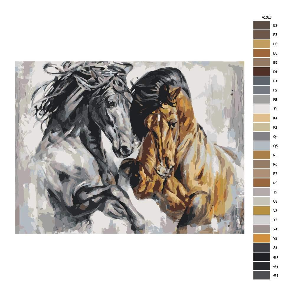 Návod pro malování podle čísel Hraví koně