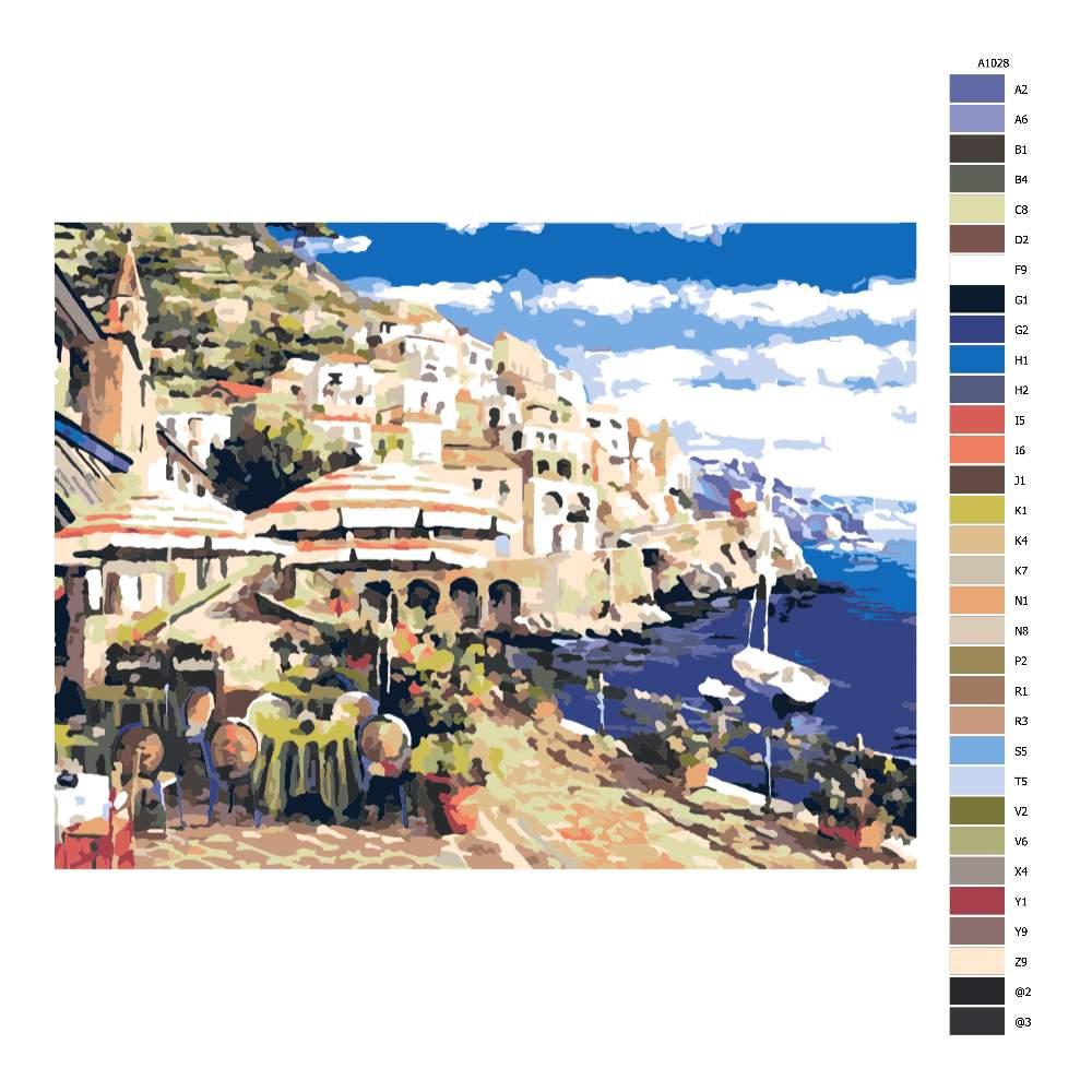 Návod pro malování podle čísel Přímořská restaurace