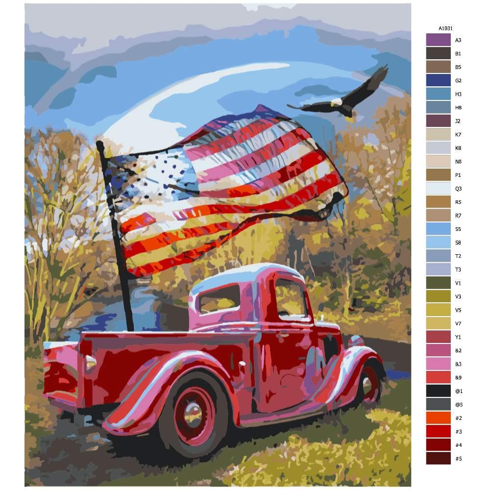 Návod pro malování podle čísel Auto s vlajkou