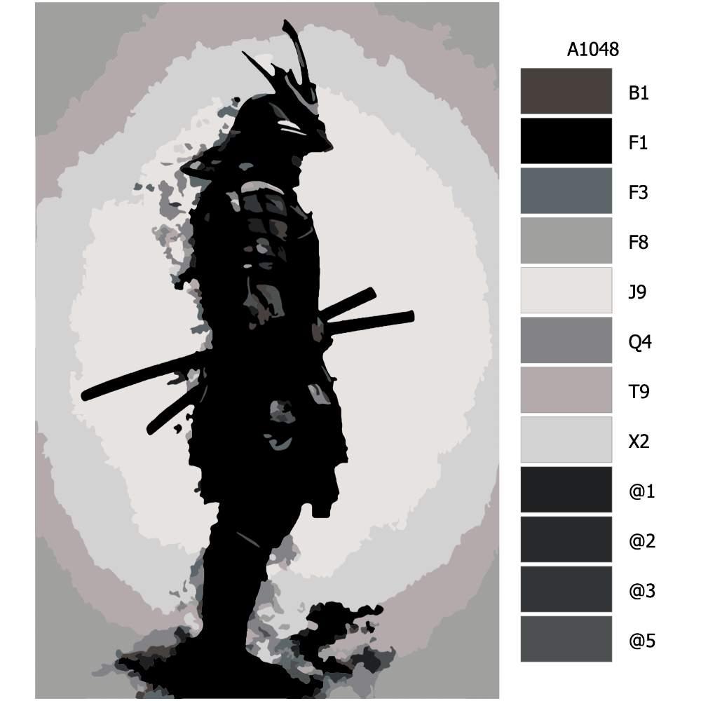 Návod pro malování podle čísel Ozbrojený samuraj