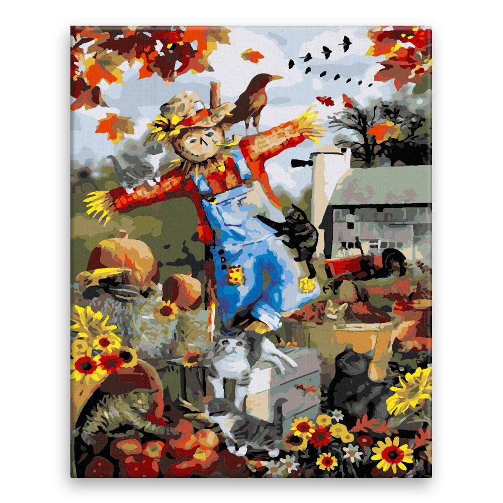Malování podle čísel Podzimní strašák