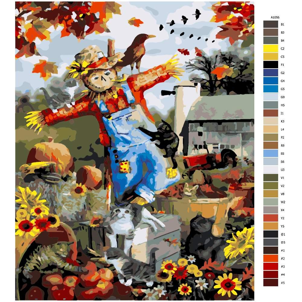 Návod pro malování podle čísel Podzimní strašák
