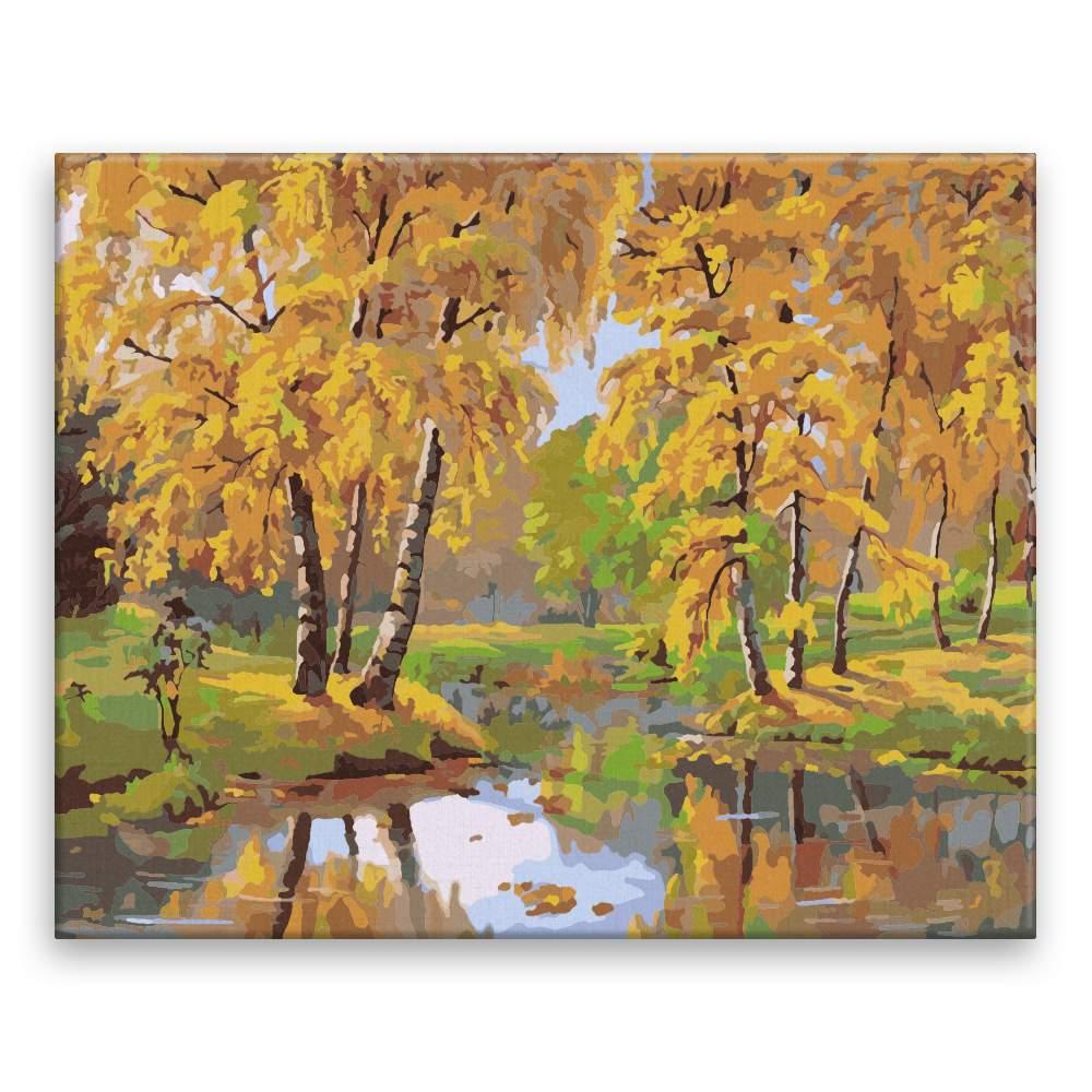 Malování podle čísel Podzimí jezírko