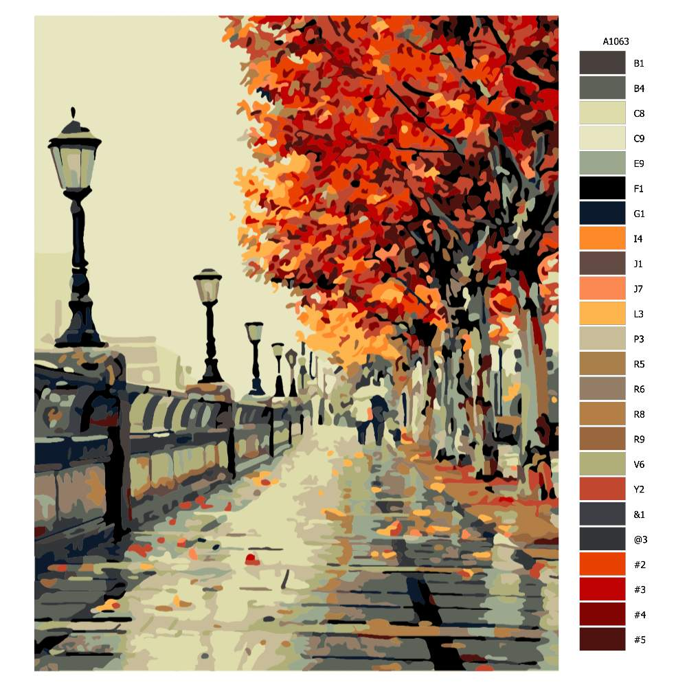 Návod pro malování podle čísel Podzimní procházka