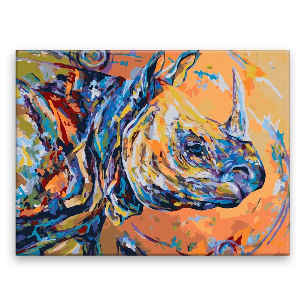 Malování podle čísel Barevný nosorožec40x30)