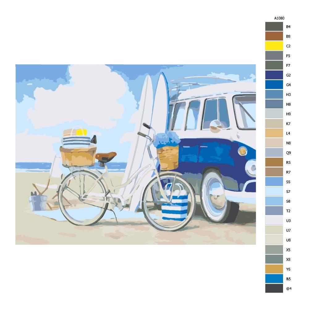 Návod pro malování podle čísel Plážová zábava