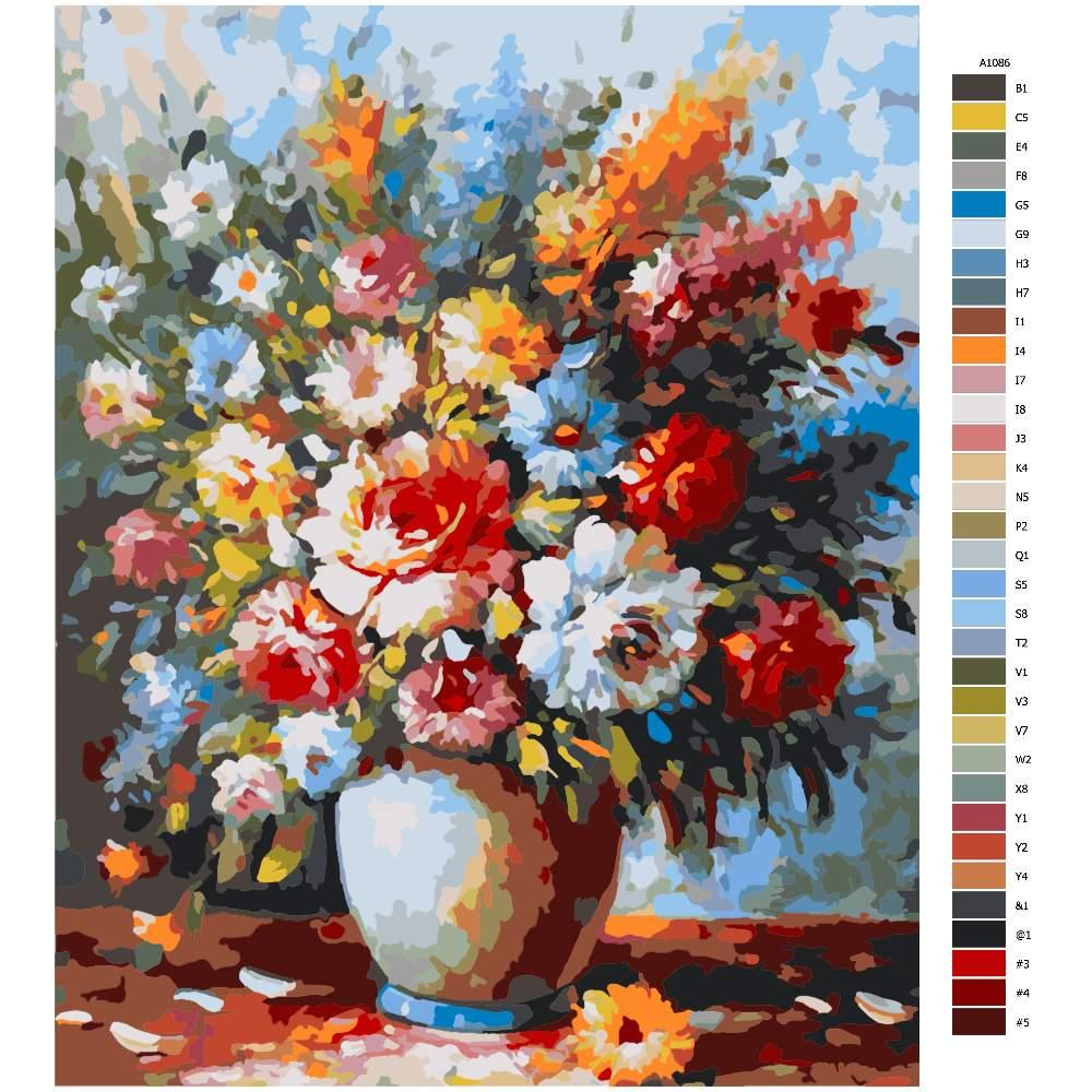 Návod pro malování podle čísel Polní květy ve váze