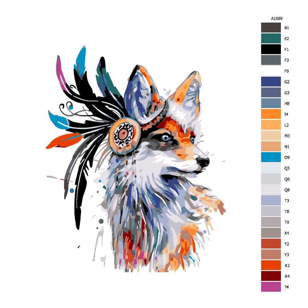 Návod pro malování podle čísel Liška s péry