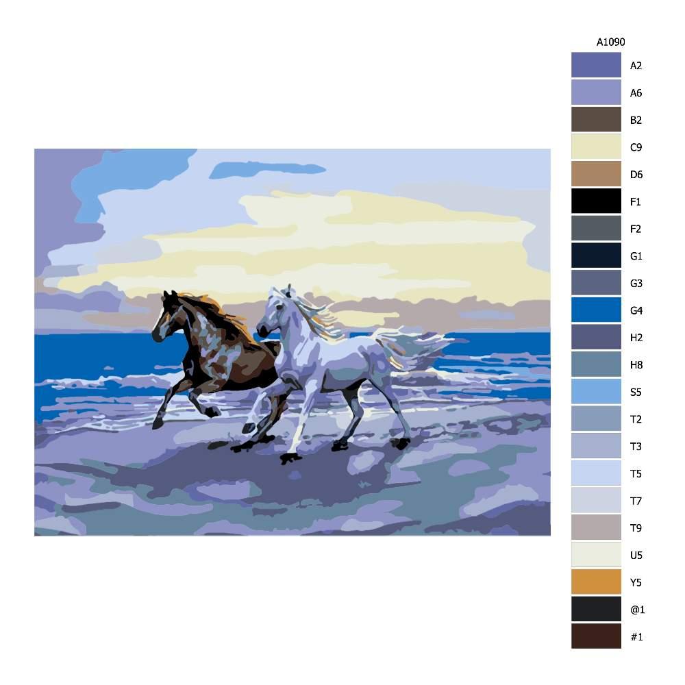 Návod pro malování podle čísel Koně na pláži