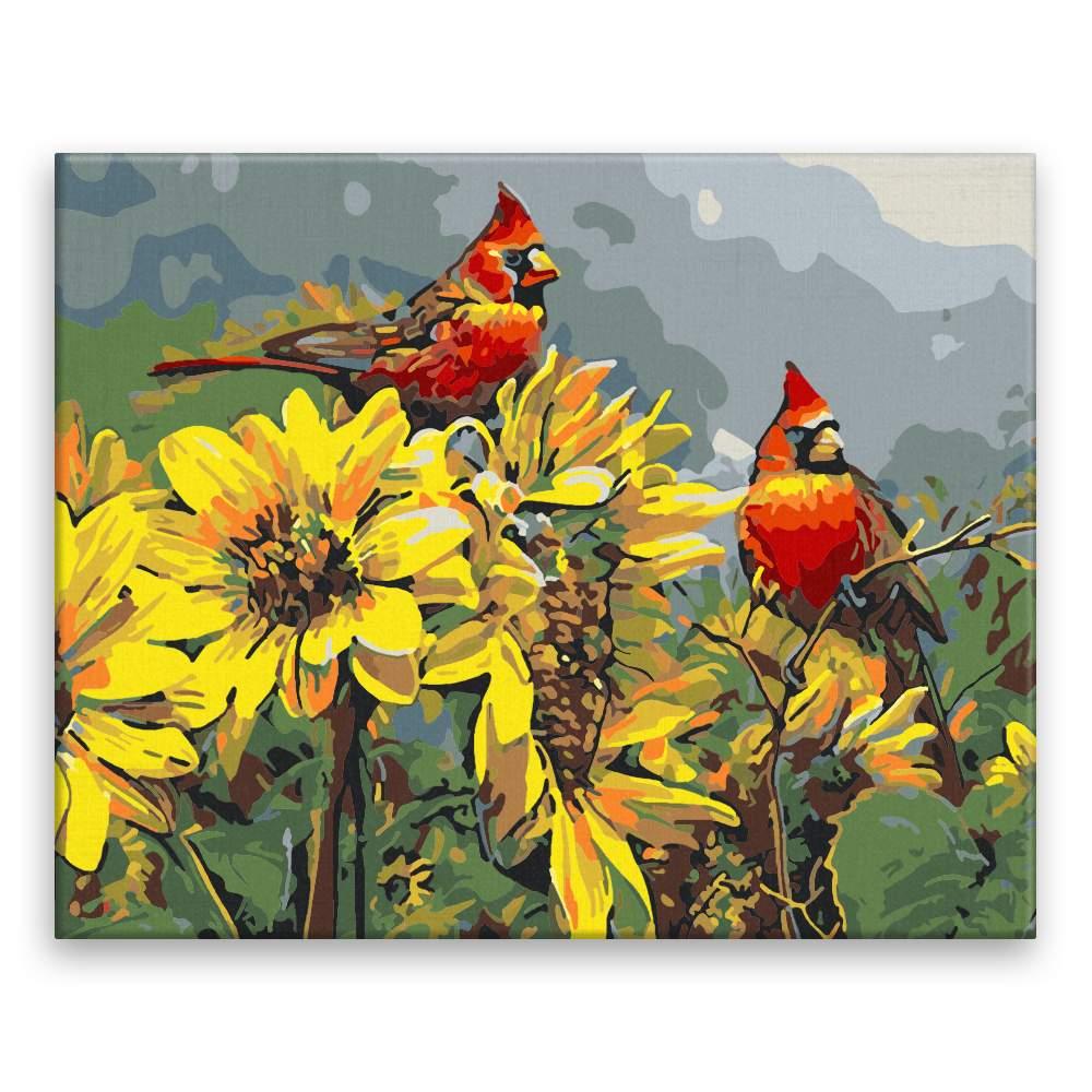 Malování podle čísel Ptáci ve slunečnicích