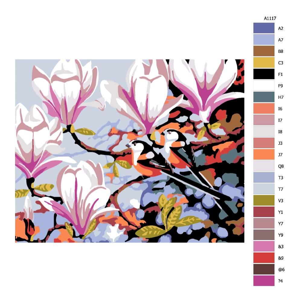 Návod pro malování podle čísel Ptáci v magnolii