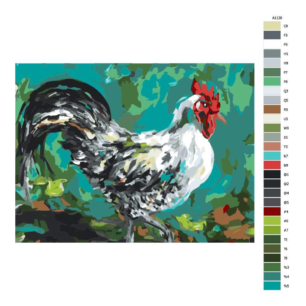 Návod pro malování podle čísel Kohout v barvách