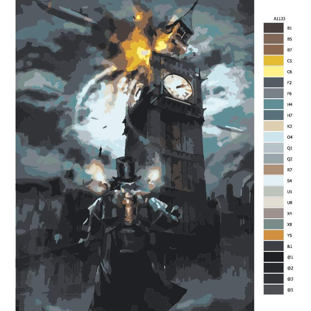 Návod pro malování podle čísel Výbuch Big benu budoucnost