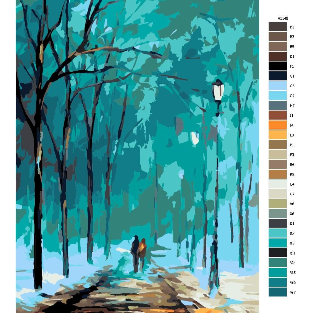 Návod pro malování podle čísel Procházka ve