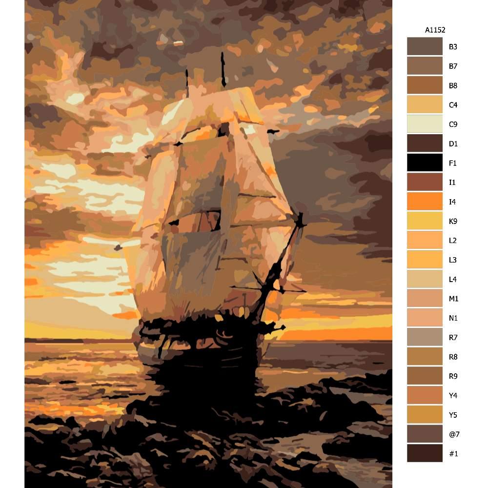 Návod pro malování podle čísel Námořní loď
