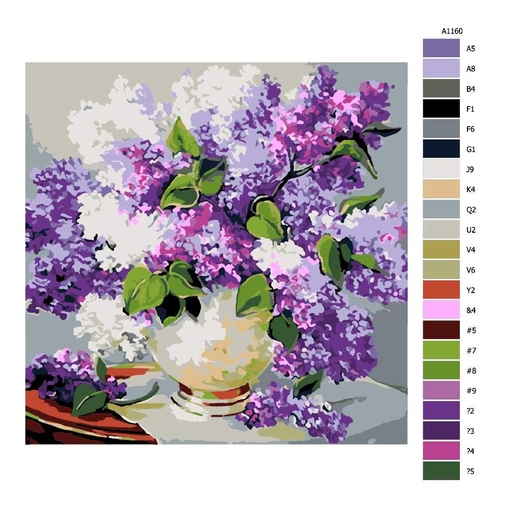 Návod pro malování podle čísel Váza šeříků
