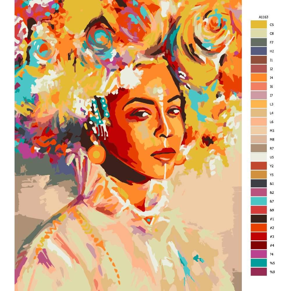 Návod pro malování podle čísel Africká krása