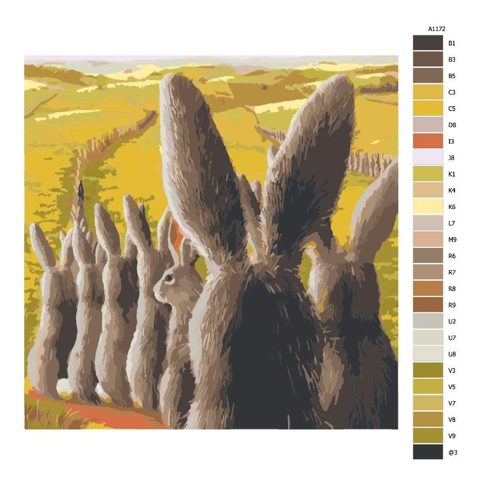 Návod pro malování podle čísel Zajíci v zástupu