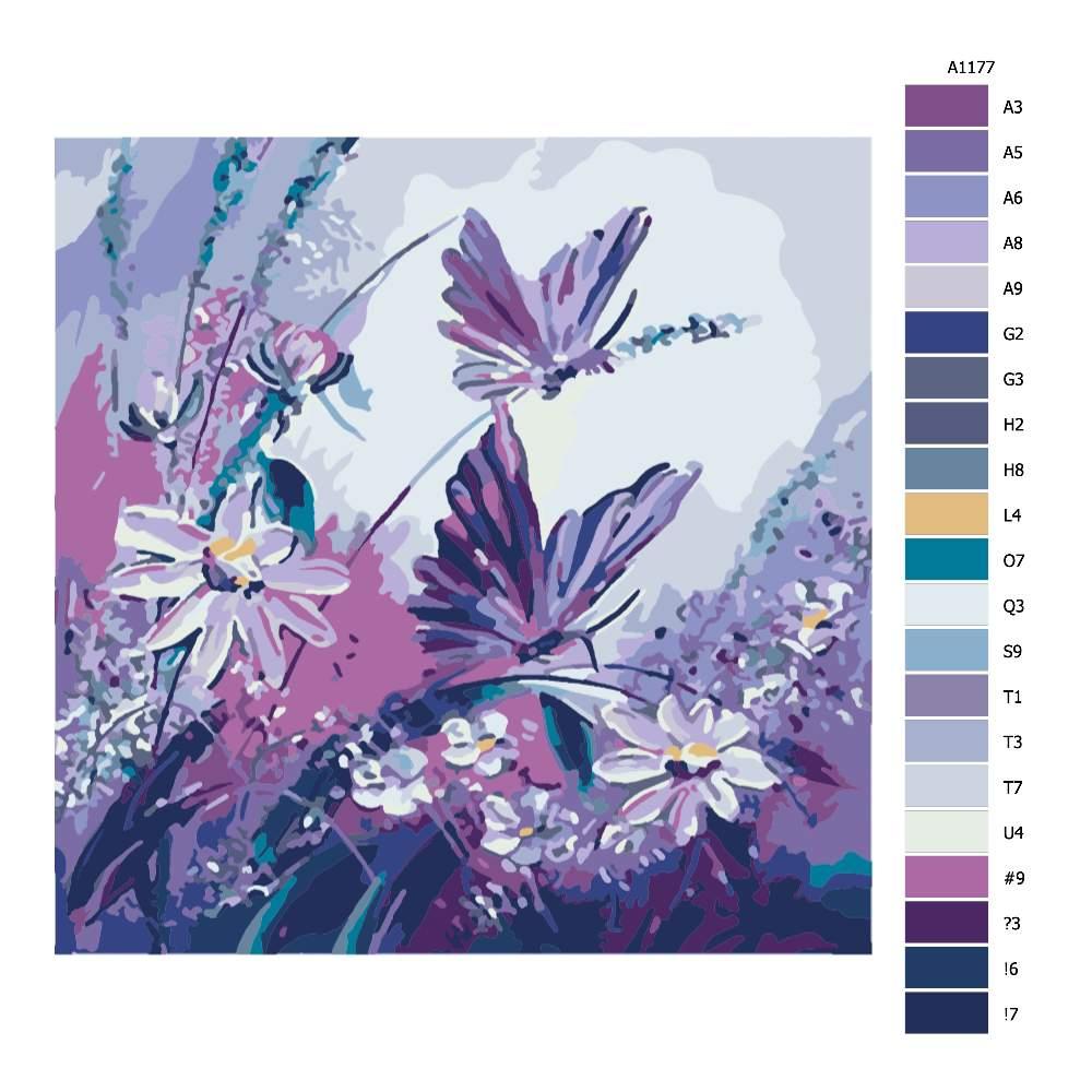 Návod pro malování podle čísel Motýli v louce