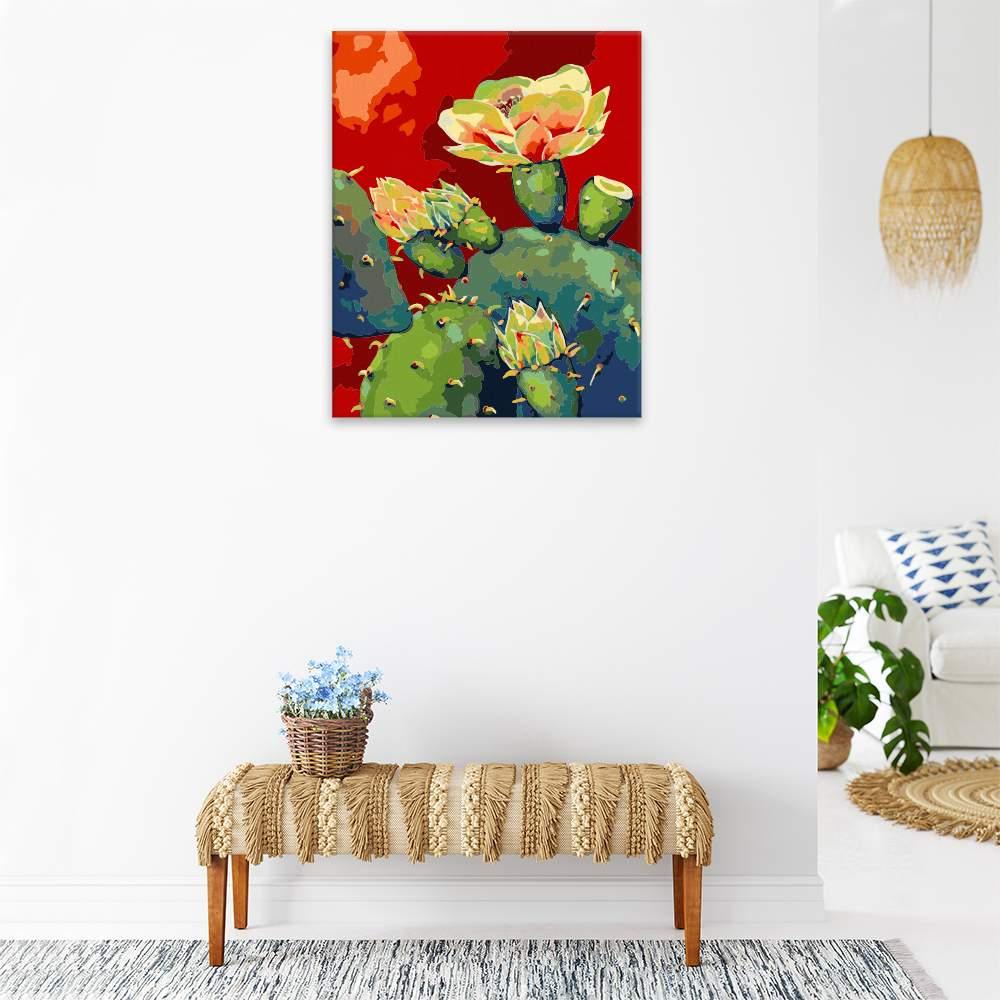 Malování podle čísel Kvetoucí kaktus