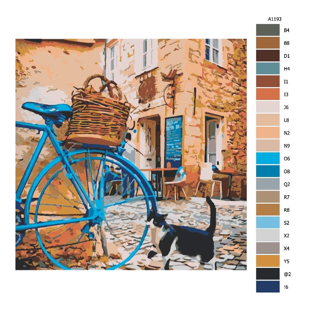 Návod pro malování podle čísel Modré kolo a kočka