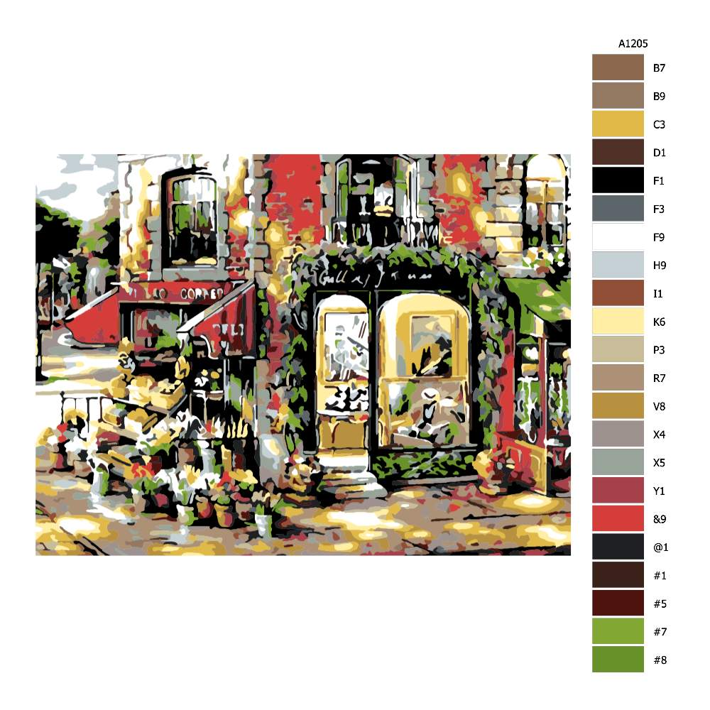 Návod pro malování podle čísel Městský obchůdek