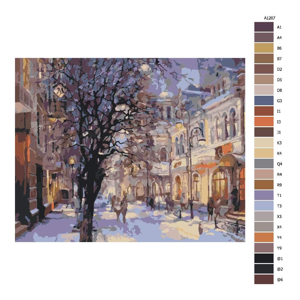 Návod pro malování podle čísel Město v zimě
