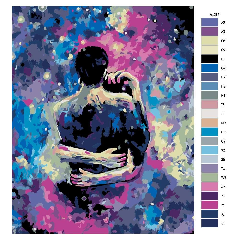 Malování podle čísel Milostný pár ve hvězdách