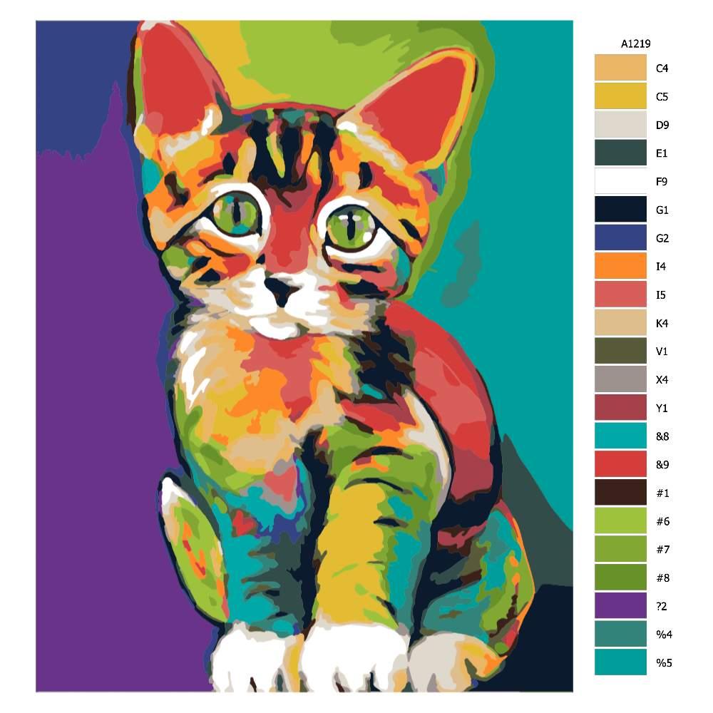 Malování podle čísel Barevné koťátko