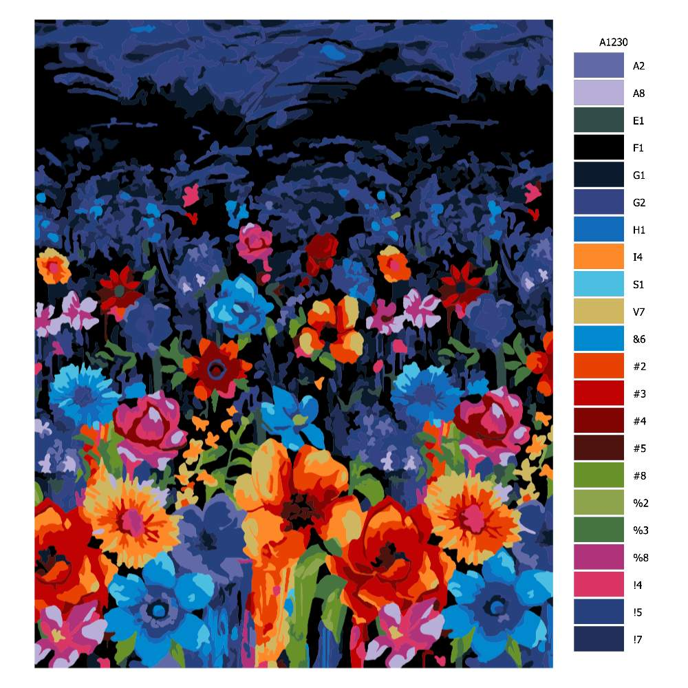 Návod pro malování podle čísel Noční pole kvítí
