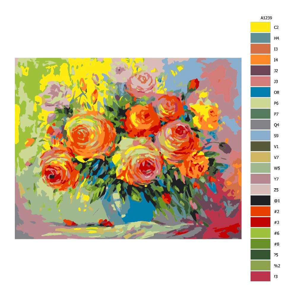 Návod pro malování podle čísel Podzimní květiny ve váze