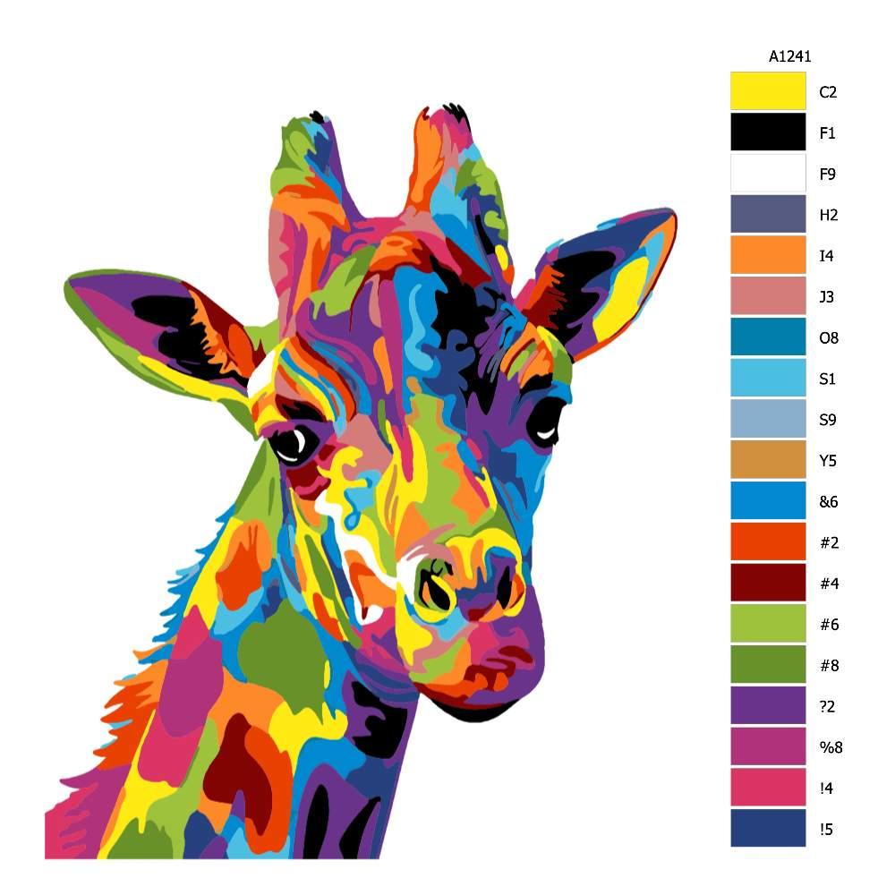 Návod pro malování podle čísel Hlava žirafy v barvách