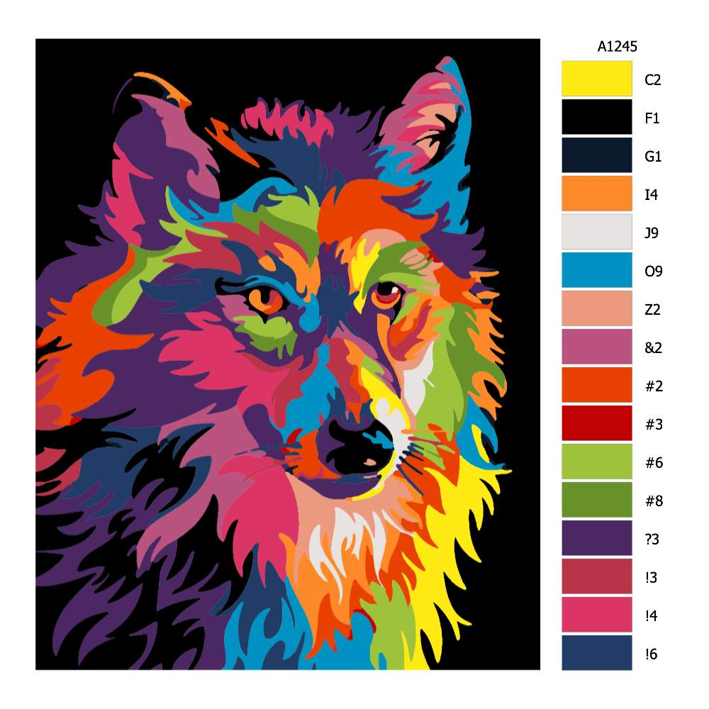 Malování podle čísel Vlčí hlava v barvách