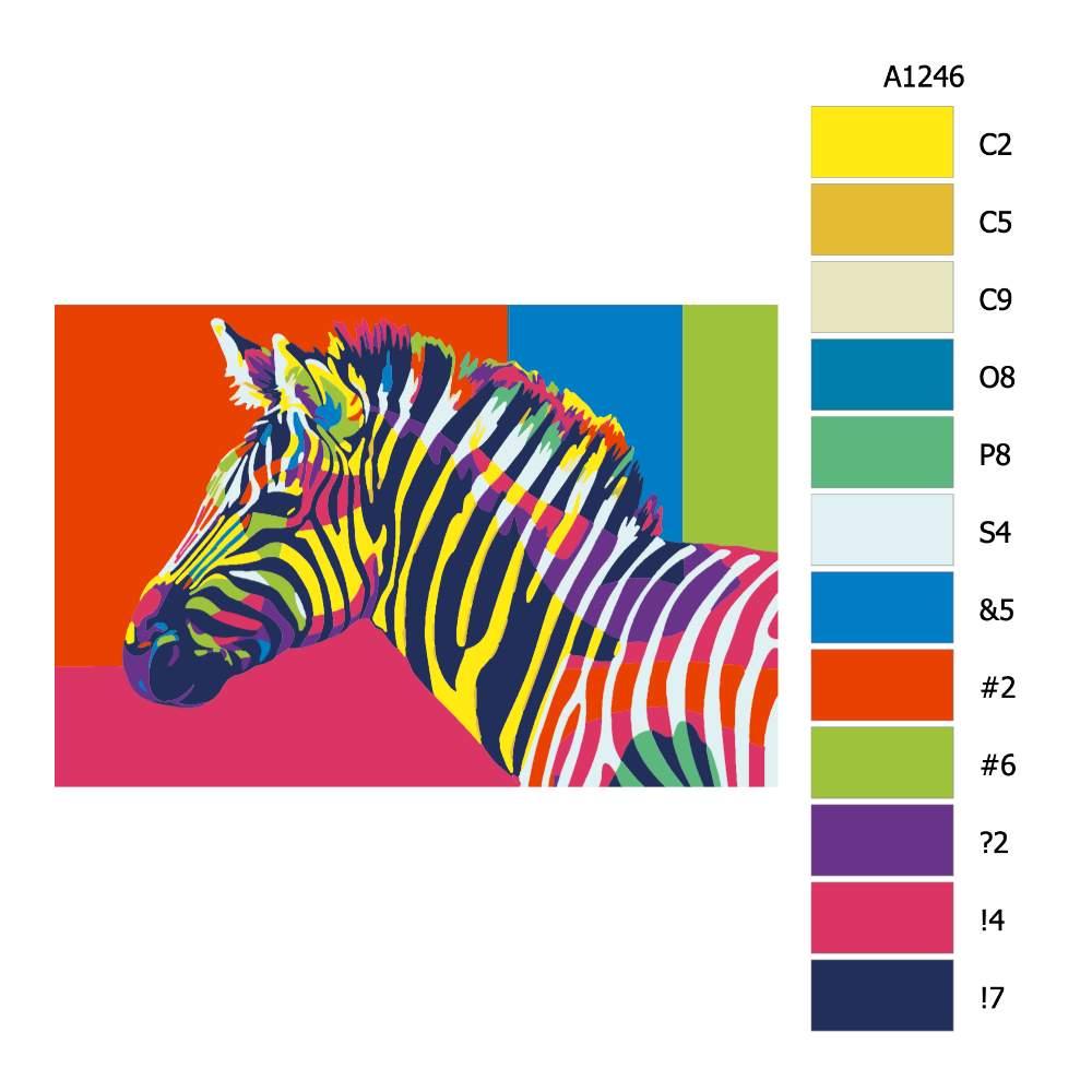 Návod pro malování podle čísel Zebra v barvách