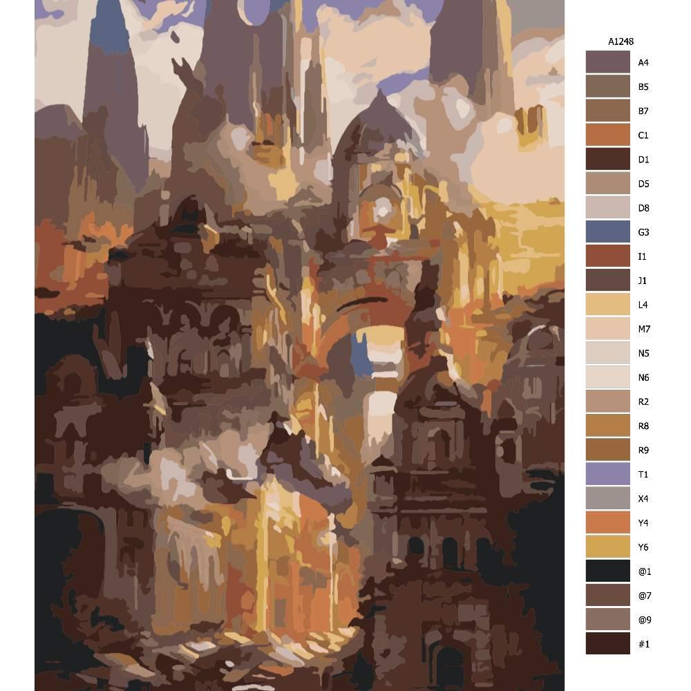 Návod pro malování podle čísel Tajemné město budoucnost