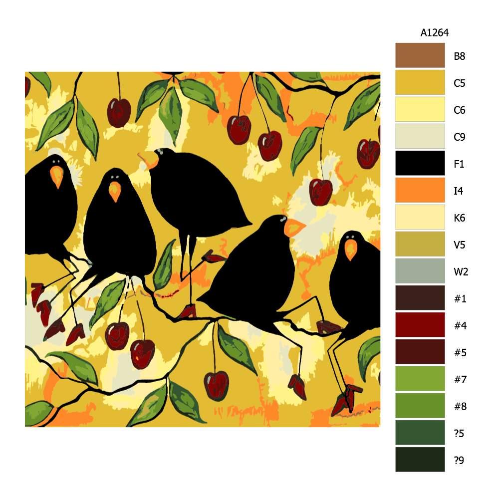 Návod pro malování podle čísel Vrány na třešních