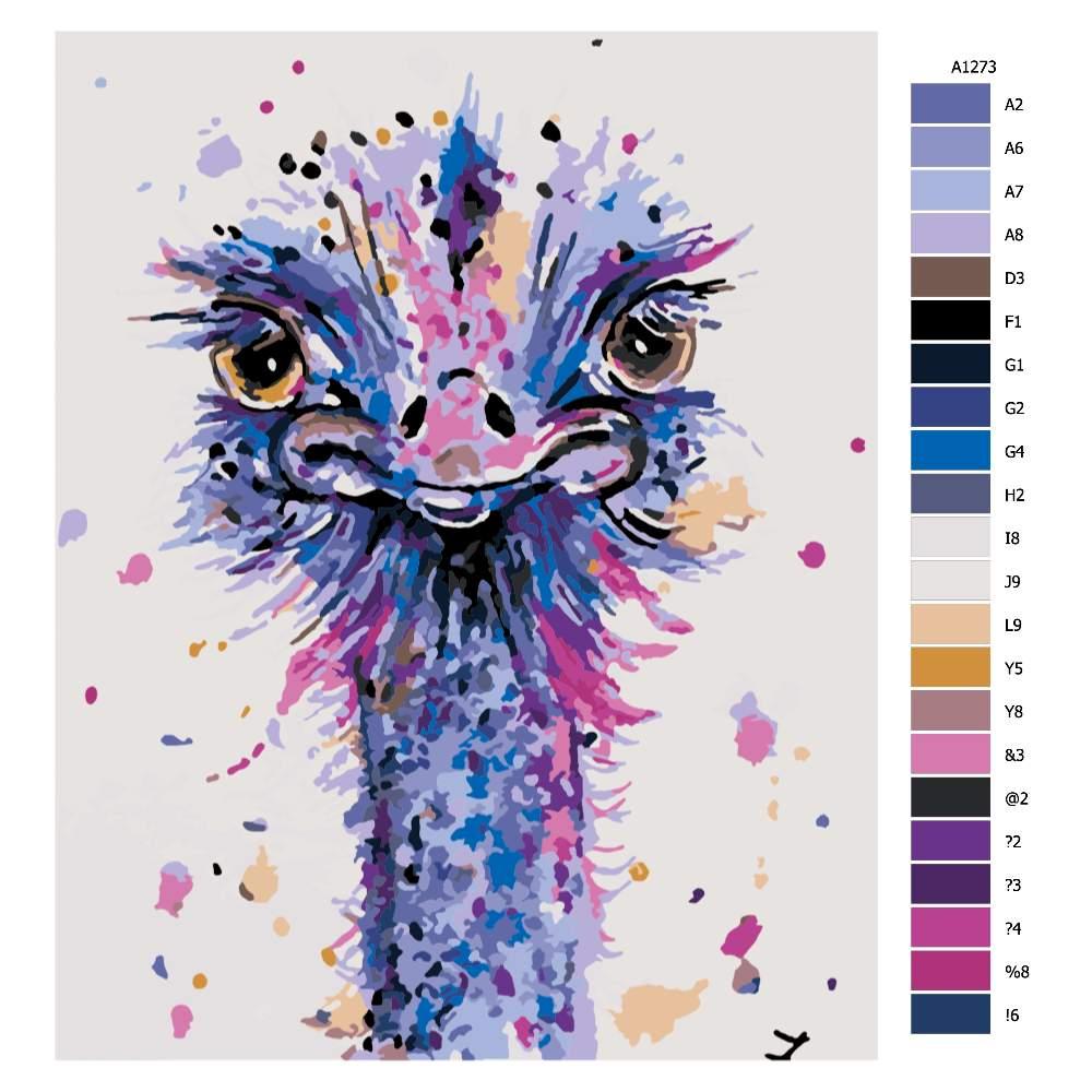 Návod pro malování podle čísel Roztomilý pštros