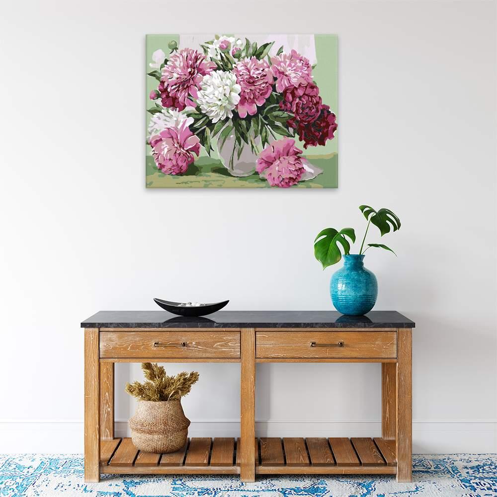 Malování podle čísel Váza plná pivoněk