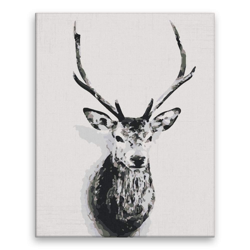 Malování podle čísel Jelení hlava na zdi