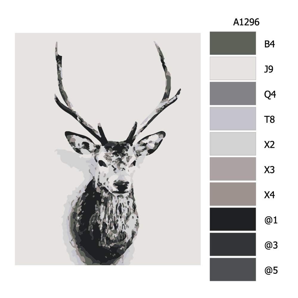 Návod pro malování podle čísel Jelení hlava na zdi