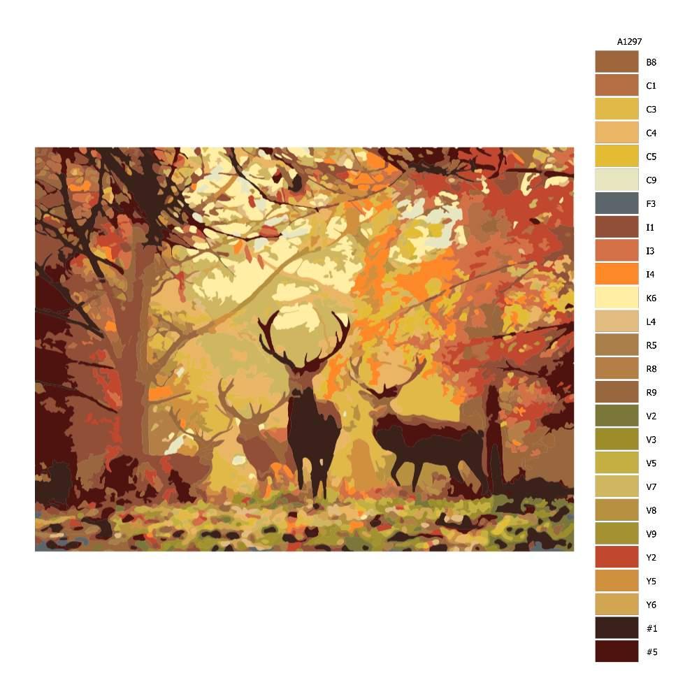 Návod pro malování podle čísel Podzim s jeleny