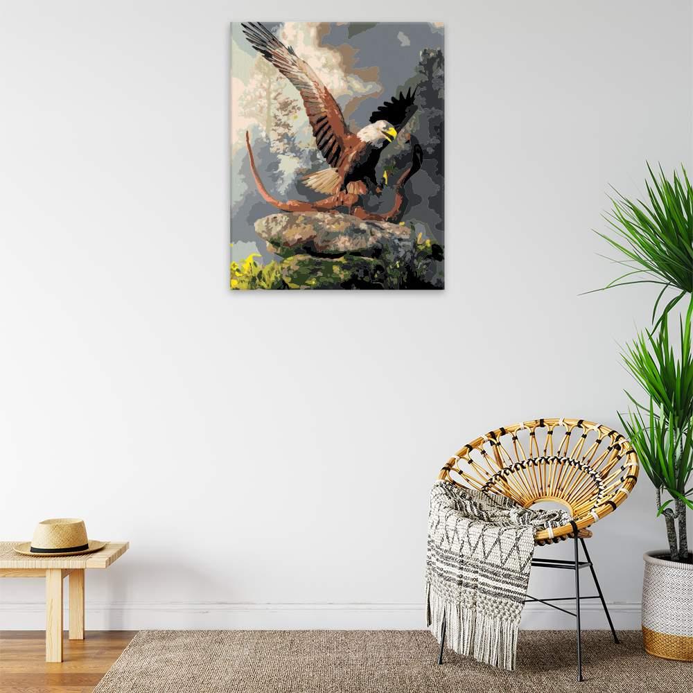 Malování podle čísel Orel lovící kobru