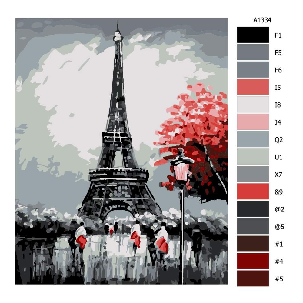 Návod pro malování podle čísel Eiffel Tower na podzim