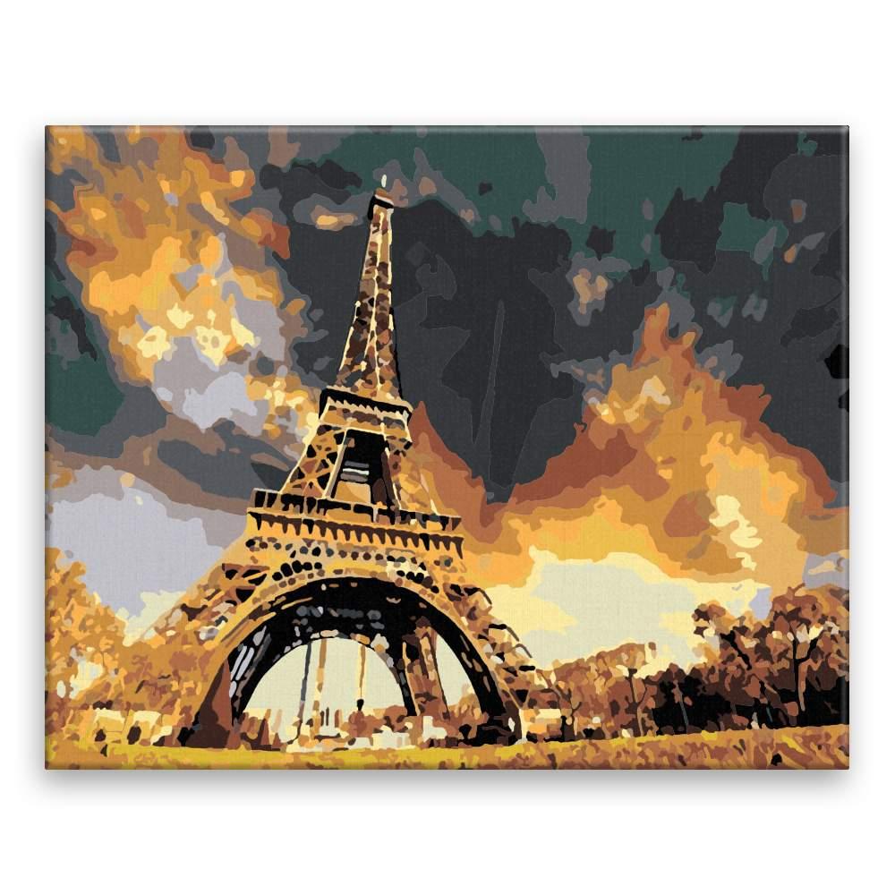 Malování podle čísel Eiffel Tower pod mrakem