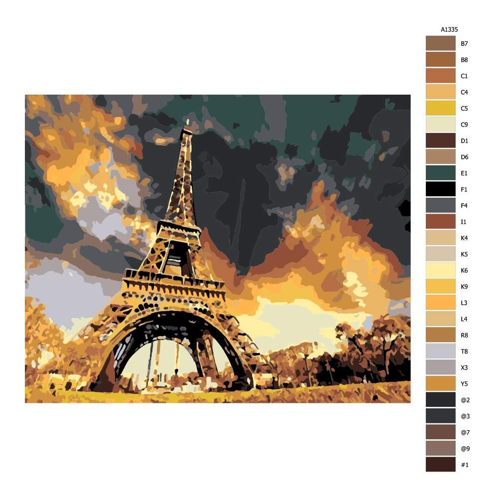 Návod pro malování podle čísel Eiffel Tower pod mrakem