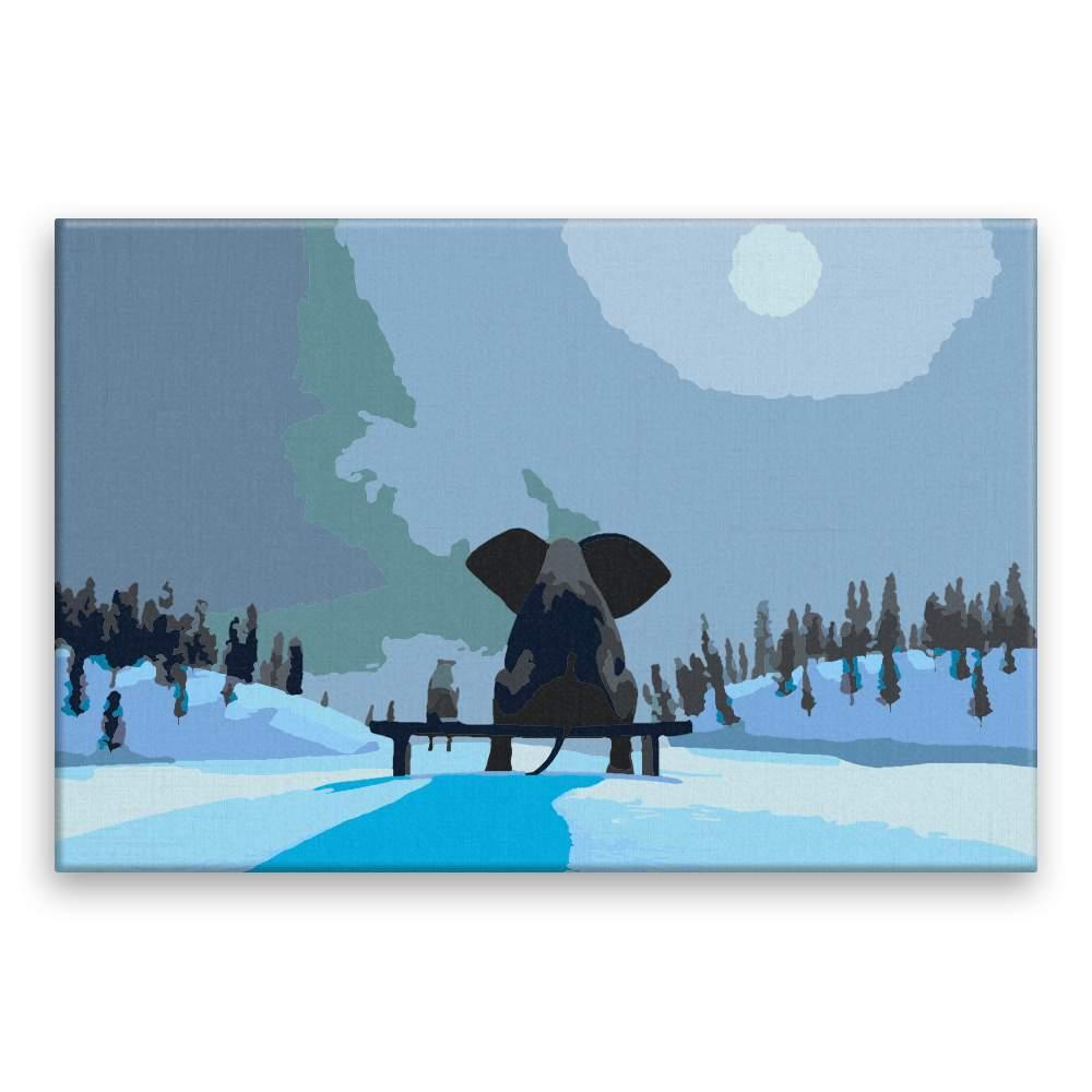 Malování podle čísel Slon a pes při úplňku